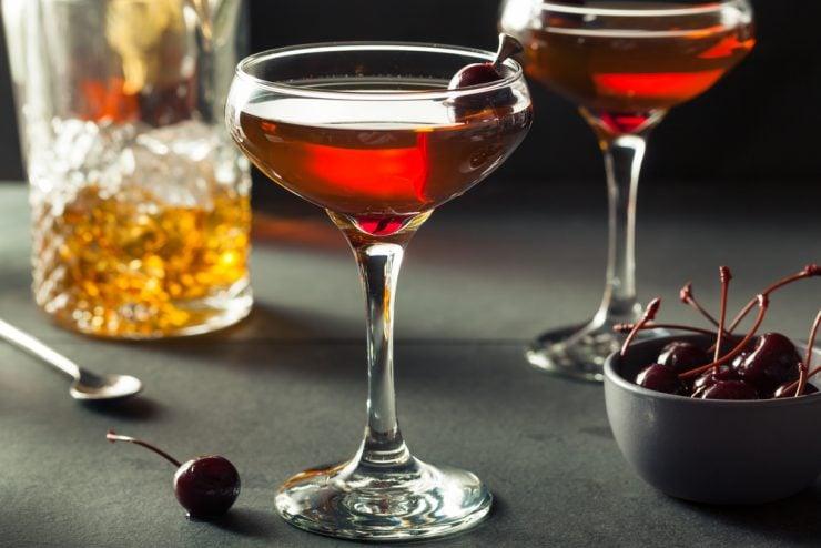 Homemade Rye Bourbon Manhattan with a Cherry Garnish