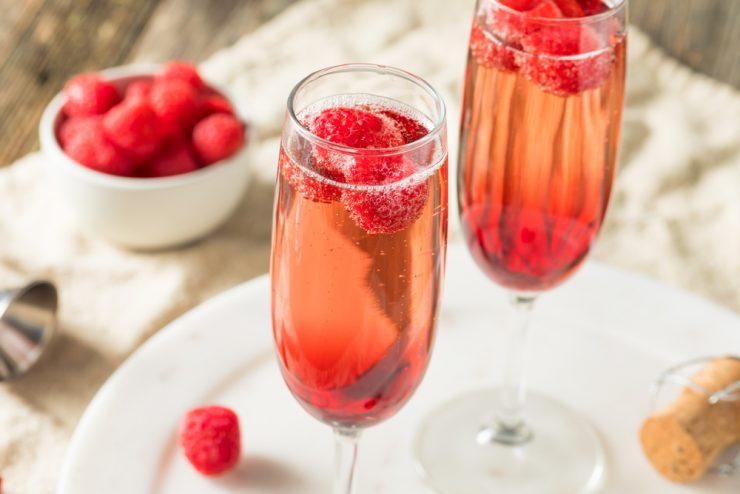 Kir Royale recipe with Champagne Raspberries