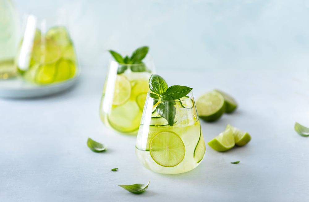 Cucumber basil gin cocktail